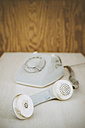 Germany, old telephone with dial plate - ELF000798