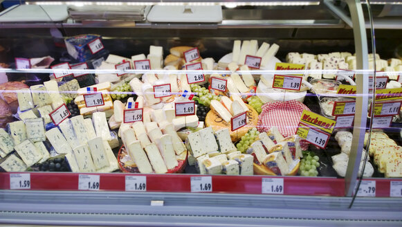 Cheese counter in the supermarket, Bavaria, Germany - MAE007601