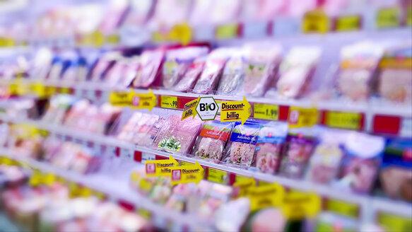 Sausage shelf in the supermarket, Bavaria, Germany - MAE007599