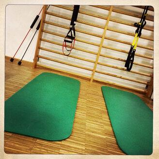 Fitness corner in a gym in Freiburg, Breisgau, Baden-Wuerttemberg, Germany - DHL000309