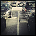 Empty shopping cart, parking IKEA Brunnthal, Bavaria, Germany - GS000726