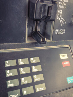Credit card payment slot at gas station fuel pump. Texas, United States - ABA001177