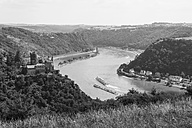 Germany, Rhineland Palatinate, St. Goarshausen, View of Katz Castle with Rhine River - WD002171