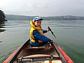 Boy in Canoe, Germany, Baden-Wuerttemberg, Constance, Lake Constance - JED000084