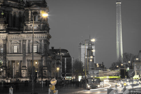 Germany, Berlin, Berlin Cathedral and television tower at night - CMF000029