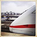 Tip of the ICE Deutsche Bahn, the Reichstag in the background, Hauptbahnhof, Berlin, Germany - ZM000097