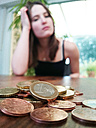 Cologne, North Rhine-Westphalia, Germany, young woman and coins - JATF000588