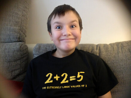 Funny pre-teen with a Mathematical Joke on his shirt, Berlin, Germany - MVC000065