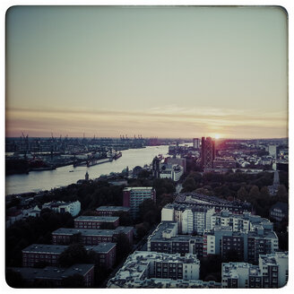 Germany, Hamburg, sunset at the river Elbe, view from St. Michaelis church - KRPF000170