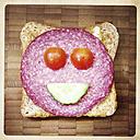 Happy sandwich: toast, salami, tomato, cucumber. Smiling - ZMF000136