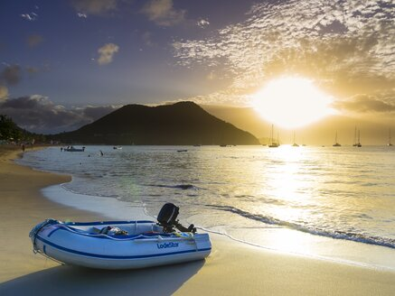 Caribbean, Antilles, Lesser Antilles, Saint Lucia, motorboat lying on the beach - AM001703