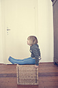 Little girl sitting on a basket - LVF000499