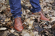 Precious leather shoes of man standing in the wood - JATF000605