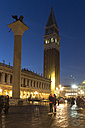 Italy, Venice, St Mark's Square with St. Mark's Lion and Campanile at night - FO005706
