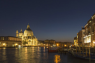 Italy, Venice, Church Santa Maria della Salute at Canale Grande at night - FOF005684
