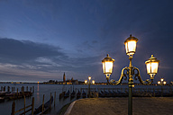 Italy, Venice, Promenade with view to San Giorgio Maggiore at night - FOF005697