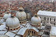 Italy, Venice, View from Campanile to St. Mark's Basilica and Doge's Palace - FOF005951