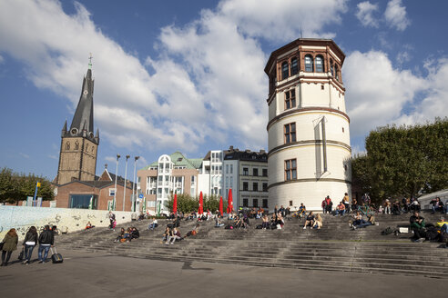 Germany, North Rhine-Westphalia, Duesseldorf, Burgplatz, Castle Tower, Shipping Museum, Lambertus Church - WIF000336