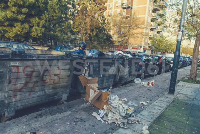 Italy, Sicily, Palermo, Man searching garbage bins - MF000818