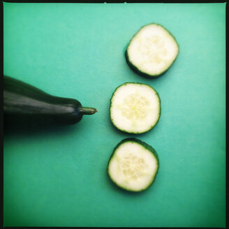 Colorful Food, Cucumber and slices on Green - MVC000080