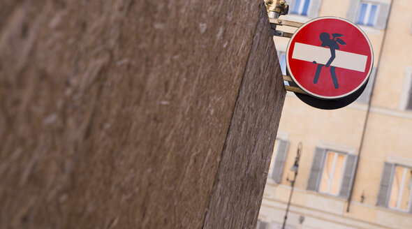 Italy, Rome, funny modification of traffic sign - DISF000421