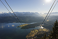 Germany, Bavaria, Upper Bavaria, View of Lake Walchensee from Herzogstand Cable Car - LAF000539