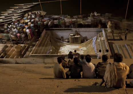India, Uttar Pradesh, Varanasi, Maha Shivaratri, Procession at night, Ganges riverside - JBAF000044