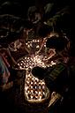 India, Uttar Pradesh, Varanasi, Maha Shivaratri, a family lighting oil lamps - JBA000047