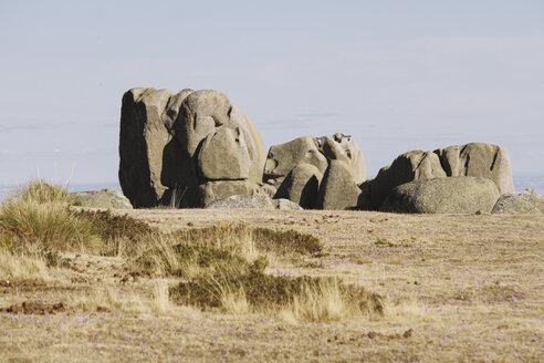 Spain, Manzanares el Real. Madrid, La Pedriza, rock formation at landscape - AMC000043
