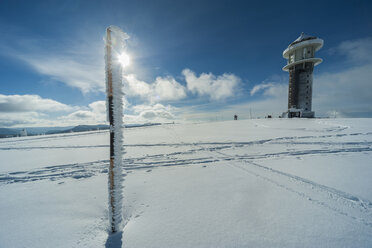 Germany, Baden-Wuerttemberg, Black Forest, Feldberg, Feldberg Tower in winter - PAF000317