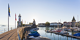 Germany, Bavaria, Swabia, Lake Constance, harbour with the old town and Mangturm and light house - WDF002229