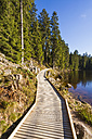 Germany, Baden-Wuerttemberg, Black Forest, Northern Black Forest, wooden boardwalk at Mummelsee - WDF002254