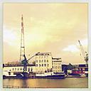 Power pole and Cranes in Harburg's inland port, Hamburg, Germany - SE000514