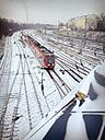 Train tracks covered in snow, Berlin, Germany - MVC000097