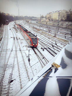 Train tracks covered in snow, Berlin, Germany - MVC000097