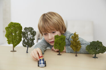 Germany, Boy sitting at table with tree models, environmental conservation - FSF000110