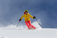 Switzerland, Graubuenden, Obersaxen, female Skier - EGF000027