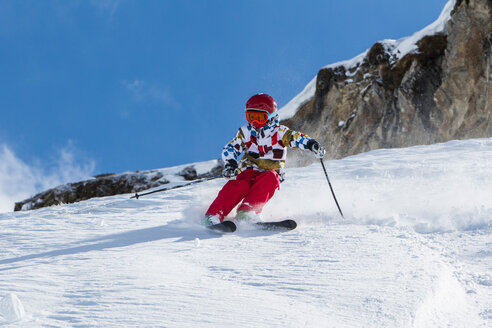 Switzerland, Grisons, Obersaxen, Boy on the slope - EGF000078