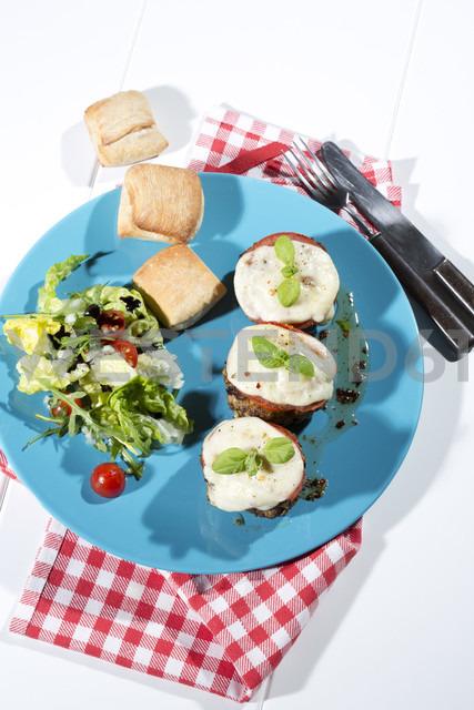 Meatballs with tomato and mozzarella on plate - MAEF007721