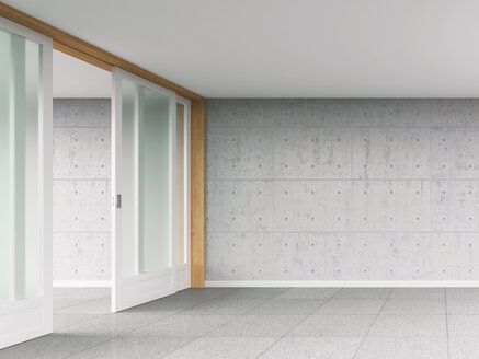 Empty room with sliding door and concrete wall, 3D rendering - UWF000020