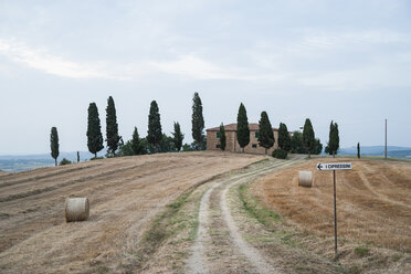 Italy, Tuscany, house with row of cypresses in front - PAF000342