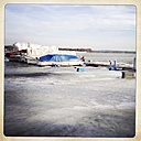 Icy harbor with covered boats, Werder (Havel), Brandenburg, Germany, - ZM000199
