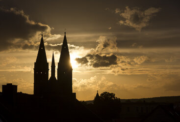 Germany, Thuringia, Heiligenstadt, St Mary's Church at sunset - SJF000088
