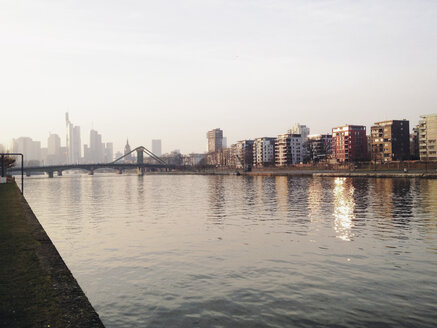Frankfurt skyline with the river bank of the Main (Ostend), Frankfurt, Hesse, Germany - MSF003243
