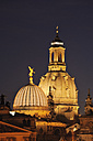 Germany, Saxony, Dresden, view to cupola of lighted Church of Our Lady by night - RUEF001210