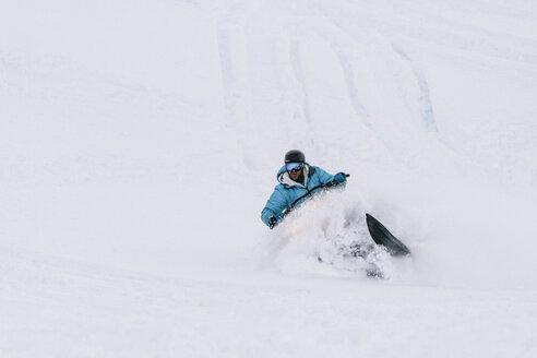 Canada, Whistler, Man snowmibiling - AMCF000048