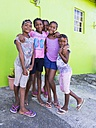 Caribbean, St. Lucia, Soufriere, Smiling girls outdoors - AM001817