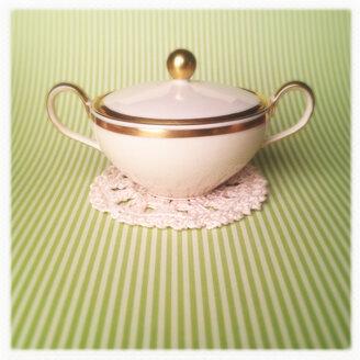 Sugar Pot on Cute Green striped background, green, gold, stripes, lace - MVC000120