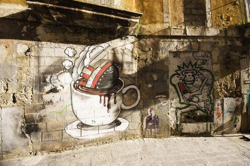 Spain, Majorca, Palma, Graffitis on wall - THA000057