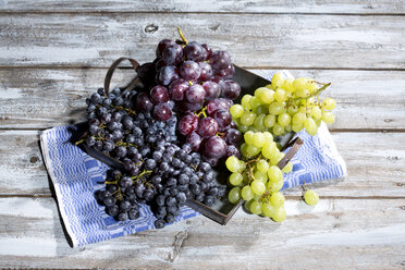 Metal tray of different green and blue grapes on kitchen towel and wooden table - MAEF007854